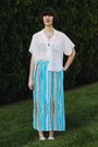Ivory-sheer-american-apparel-shirt-sky-blue-honeymoon-muse-vintage-skirt