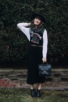 dark green Marshalls scarf - black maxi pinafore thrifted dress