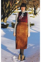 bronze suede whhttt vintage skirt - crimson tartan Urban Outfitters dress