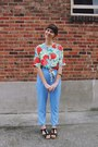 Floral-fancy-lucky-vintage-top-high-waisted-forever-21-pants