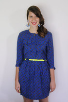 navy patterned Bear and Twine dress - hot pink jewel H&M earrings