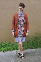 brick red knit Urban Outfitters sweater - bubble gum floral H&M sweater