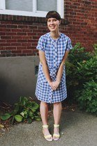 blue tartan Bottle Blonde Vintage dress - white neon Urban Outfitters sandals