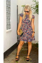 floral print Zara dress - studded bag Urban Outfitters bag