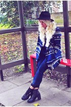 aztec asos jacket - ankle boots Primark boots - skinny jeans Topshop jeans