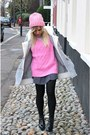 Bubble-gum-knitwear-river-island-hat-charcoal-gray-pleated-zara-skirt