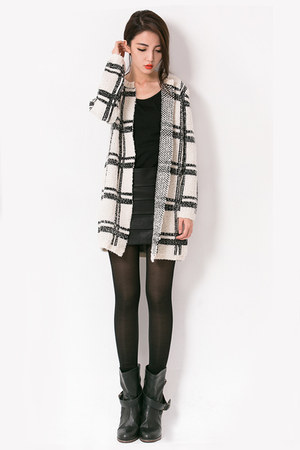 checked knit mexy shop cardigan