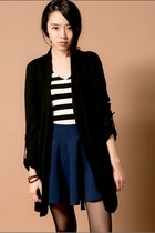 black drape style mexy shop cardigan - navy flare style mexy shop skirt