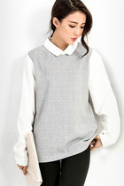 Meshed Grey Collar Shirt