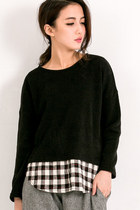 Made In Korea: Inset Plaid Knit Top