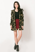 dark green camouflage mexyshop coat - brick red red mexyshop skirt