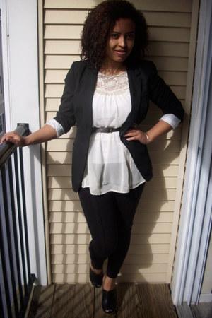 black Target blazer - off white H&M top - black Steve Madden clogs