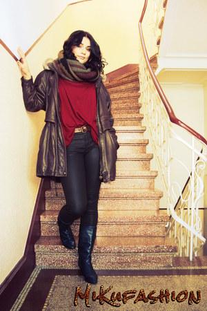 deep purple leather vintage jacket - navy real leather vintage boots