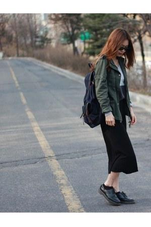 dark green Forever21 jacket - black Dr Martens boots - black lotini skirt