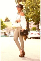 beige Qupid heels - tan riding pants American Apparel pants
