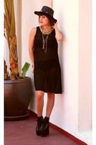 black mesh Thrift Store dress - black concho hat mint hat
