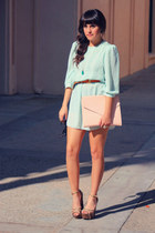 light blue mint chiffon vintage dress - light pink clutch Envelope purse