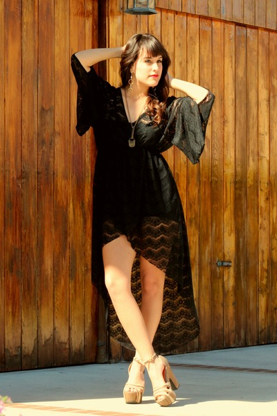 black lace tail dress dress - light brown Qupid heels