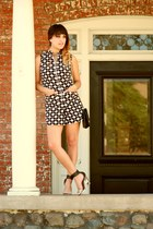 black Blu Button romper - gold LoveIt earrings - ivory Jeffrey Campbell heels