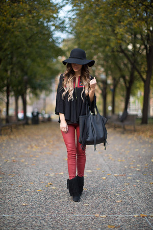 black sam edelman boots - black Topshop bag - maroon Zara pants - black asos top