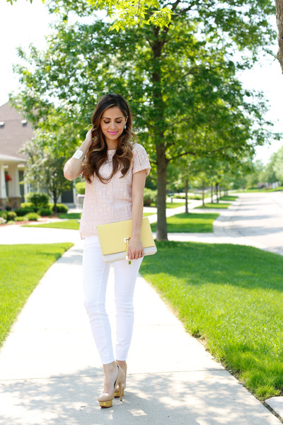 yellow Francescas Collections bag - white ann taylor jeans