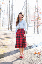 ruby red Anthropologie skirt - light blue Zara shirt - ruby red Zara heels