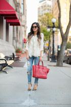 ivory Forever 21 vest - blue Nordstrom jeans - ruby red Celine bag