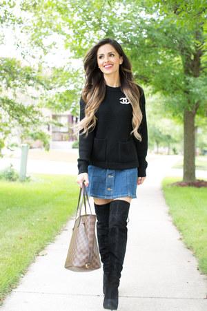 blue Nordstrom skirt - black Nordstrom boots - black Nordstrom sweater