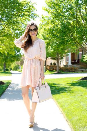light pink ann taylor dress - light pink kate spade bag
