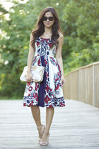maroon Anthropologie dress - camel Anthropologie bag