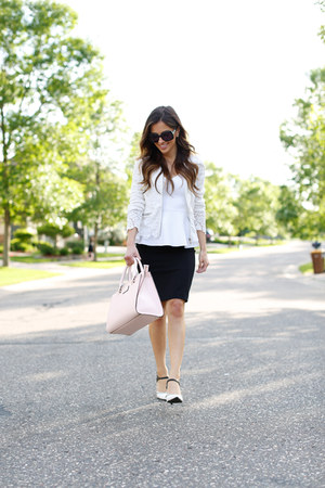 black H&M skirt - light pink kate spade bag - white Topshop top - white Zara top
