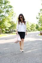 black H&M skirt - light pink kate spade bag - white Topshop top - white Zara top
