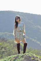 dark brown sam edelman boots - neutral free people dress