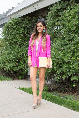 bubble gum Nordstrom blazer - light pink Nordstrom romper - nude Zara heels