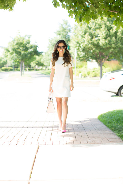 White-loft-dress-light-pink-kate-spade-bag-bubble-gum-kurt-geiger-heels