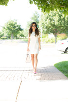 white Loft dress - light pink kate spade bag - bubble gum Kurt Geiger heels