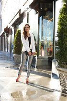 white Zara blazer - silver H&M pants - ruby red Zara heels