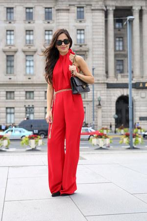black Chanel bag - black Forever 21 heels - red Zara jumper