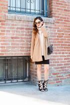 camel Nordstrom coat - beige Zara sweater - black Choies heels