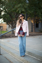light pink banana republic jacket - blue H&M jeans - maroon Rebecca Minkoff bag