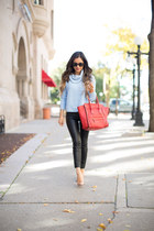 light blue Forever 21 sweater - red Celine bag - nude Christian Louboutin heels