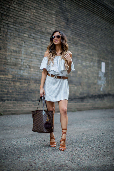 brown Sole Society heels - white Nordstrom dress - brown asos belt