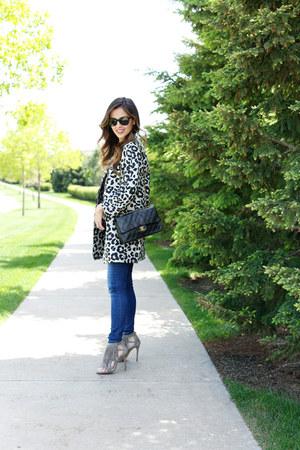 camel ann taylor coat - blue Nordstrom jeans - black Chanel bag