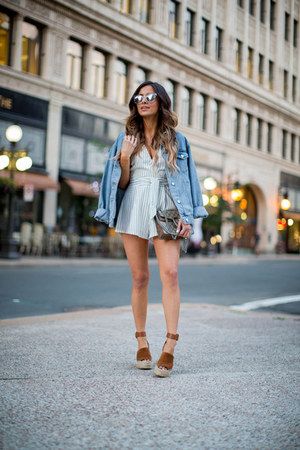 white Nordstrom romper - blue Topshop jacket - brown Marc Fisher wedges