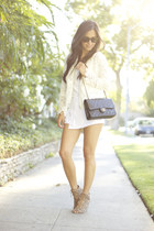white Urban Outfitters shorts - black Chanel bag - ivory Zara cardigan