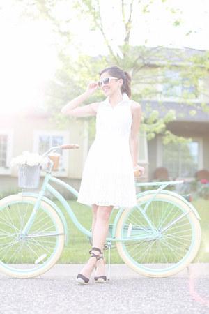 light pink Nordstrom sunglasses - white ann taylor dress