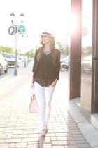 white American Eagle jeans - black Nordstrom shirt - light pink kate spade bag