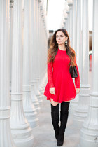 black sam edelman boots - red H&M dress - black Chanel bag