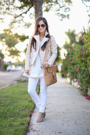white America Eagle jeans - beige Zara jacket - white BCBG sweater