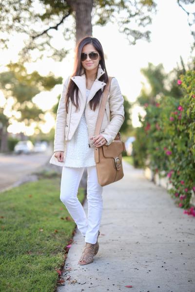 beige Zara jacket - white America Eagle jeans - white BCBG sweater